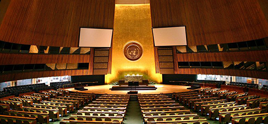 United Nations General Assembly hall in New York City.